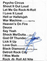 Gene Simmons Signed Set List