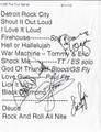 Band Signed Set List from Las Vegas 2012
