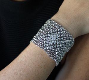 Sergio Gutierrez Liquid Metal Silver Mesh Cuff Bracelet Swarovski Crystal RSB10