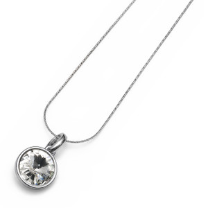Fun Silver Chain Necklace Clear Swarovski Crystal Bezel Pendant Oliver Weber