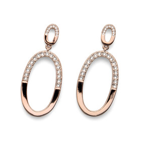 Oval Rose Gold White Clear Swarovski Crystals Dangle Earrings Oliver Weber DEMI