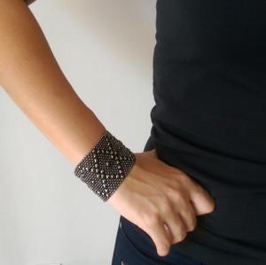 Liquid Metal Black Chrome Mesh Cuff Bracelet by Sergio Gutierrez B10