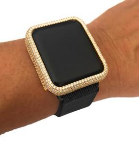 EMJ Apple Watch Bezel Face Case Yellow Gold Plated Zirconia 38/42mm Series 2,3