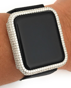 EMJ Bling Apple Watch Bezel Face Case Silver Zirconia 38/42mm Series 1,2,3