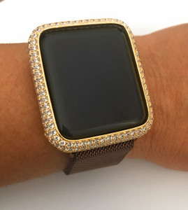 Series 1,2,3 Bling Apple Watch Zirconia Gold Case Face Cover Bezel 38/42mm