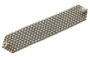Liquid Metal Pivot Silver Mesh Cuff Bracelet by Sergio Gutierrez B8