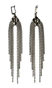 Liquid Metal Tiny Ball Chains Silver Earrings by Sergio Gutierrez E42