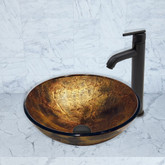 Matte Black Copper Shapes Glass Vessel Sink and Seville Faucet Set