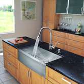 Stainless Steel All in One Farmhouse Kitchen Sink and Chrome Faucet Set 33 Inch