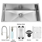 Stainless Steel Undermount Kitchen Sink Faucet Colander Grid Strainer and Dispenser