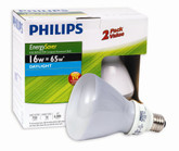 Phillips CFL 15W = 65W R30 Reflector Daylight (6500K) - 2 Pack