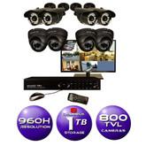8 CH Surveillance System w/ 19 HD Monitor, 960H DVR, 1TB HDD, and (8) 800TVL Cameras