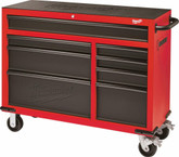 46 Inch Rolling Steel Storage Cabinet, Red And Black