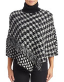 Armani Jeans Dot and Houndstooth Poncho - BLACK - LARGE