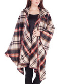 California Moonrise Plaid Hooded Poncho - BROWN - LARGE