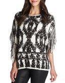 1 State Fringe Sleeve Wool-Blend Poncho - GREY - MEDIUM