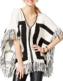 I.N.C International Concepts Fringe Intarsia Poncho - BLACK - SMALL/MEDIUM