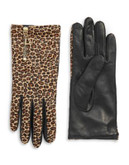 Diane Von Furstenberg Leopard Calf Hair and Leather Gloves - MINI LEOPARD/RED - 6.5