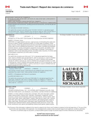 Michaels trademark search report