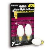 7 Watt Night Light White Candelabra (Small Base) Bulb 2 PK
