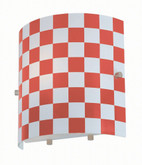 1 Light Wall Sconce Red Finish Red Check Glass Shade
