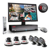 8-channel 500 GB H.264 DVR security system, with 3 indoor dome cameras and 3 outdoor bullet cameras
