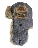 Black Brown 1826 Herringbone Faux Fur Aviator Hat - Black - Small