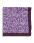 Black Brown 1826 Wool Heathered Pocket Square with Border - Purple