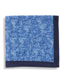 Black Brown 1826 Wool Heathered Pocket Square with Border - Blue
