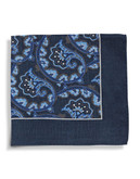 Black Brown 1826 Wool Paisley Pocket Square with Border - Blue