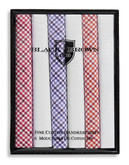 Black Brown 1826 6 Pack Fine Cotton Handkerchiefs - Assorted
