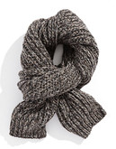 Black Brown 1826 Chunky Knit Tweed Scarf - Natural