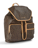 Calvin Klein Monogrammed Backpack - Brown/Khaki/Camel