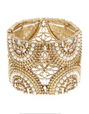 Expression Large Exotic Beaded Stretch Bracelet - Gold