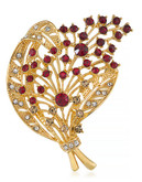 Carolee Berry Utiful Bouquet Pin Gold Tone Crystal  Brooch - Red