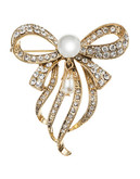 Jones New York Dangling Pearl and Stone Pin - Gold