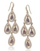 Carolee Simply Amethyst Teardrop Chandelier Pierced Earrings Gold Tone Crystal Chandelier Earring - Purple