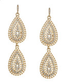 A.B.S. By Allen Schwartz Embellished Double Teardrop Earrings - Gold