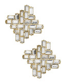 A.B.S. By Allen Schwartz Crystal Button Earrings - Gold