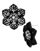 Betsey Johnson Black Out Metal Stud Earring - Black