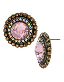 Betsey Johnson Crystal Gem Button Earring - Pink