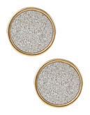 A.B.S. By Allen Schwartz Framed Glitter Stud Earrings - Two Tone Colour