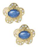 Betsey Johnson Blue Button Flower Earrings - Blue