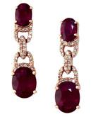 Effy 14K Rose Gold Diamond Lead Glass Filled Ruby Earrings - Ruby