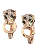 Effy 14K Rose Gold White and Black Diamond with Emerald Earrings - Emerald