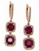 Effy 14k Rose Gold Diamond Lead and Glass Filled Ruby Earrings - Ruby