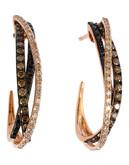 Effy 14k Rose Gold Diamond Black Diamond Espresso Diamond  Earrings - Diamond