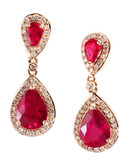 Effy 14K Rose Gold and Diamond Lead Glass Filled Ruby Earrings - Ruby
