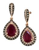 Effy 14K Rose Gold Diamond Espresso Diamond Lead Glass Filled Lead Glass Filled Ruby Earrings - Ruby