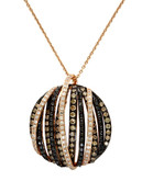 Effy 14K Rose Gold, White, Black And Espresso Diamond Pendant - Diamond